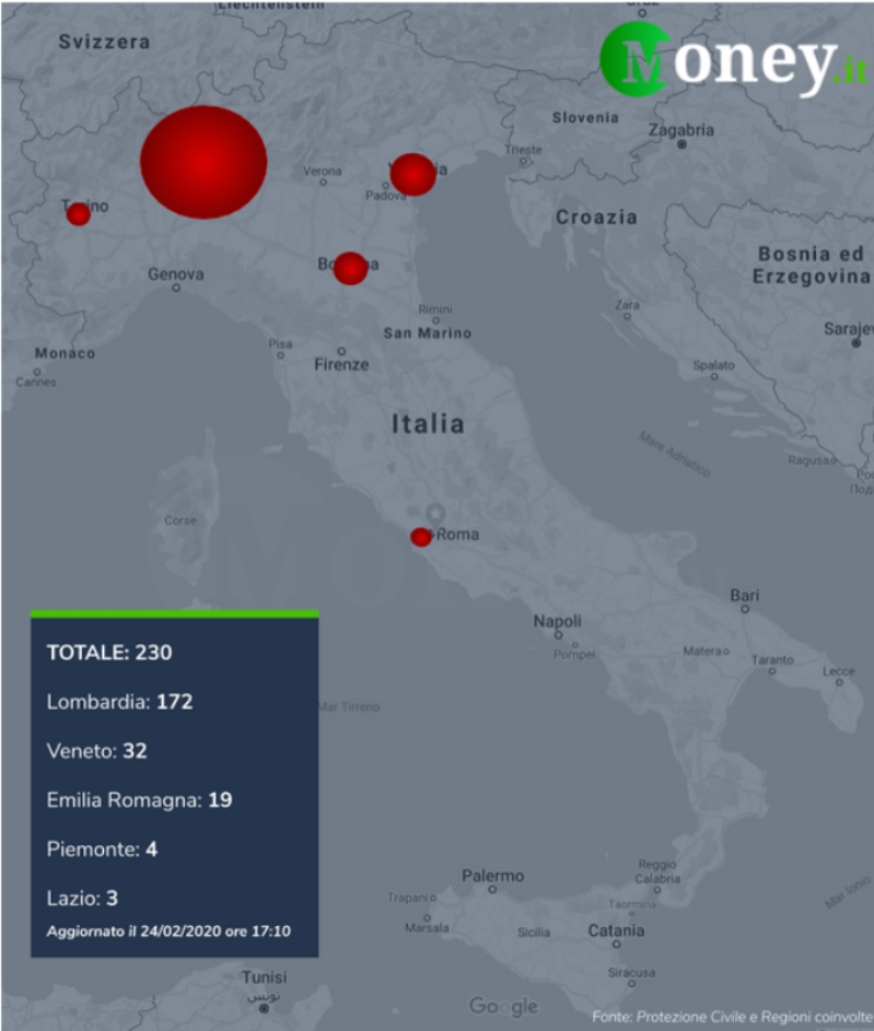 Coronavirus: mappa focolai Italia